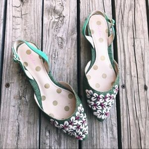 Boden Embroidered Pointed Slingbacks